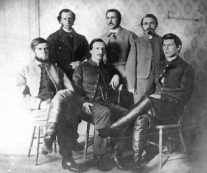 A Feb. 15, 1864 photo showing five of the at least 18 St. Albans Raiders following their escape to Canada and while they were held for trial in Montreal.