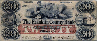 This is a $20 note drawn on the Franklin County Bank of the kind taken by raiders.