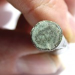 Visible to the naked eye are a 6 and an A scratched into a Civil War-era cartridge found at the site of the former Missisquoi Bank in Sheldon. The cartridge may have been fired by one of the St. Albans Raiders.